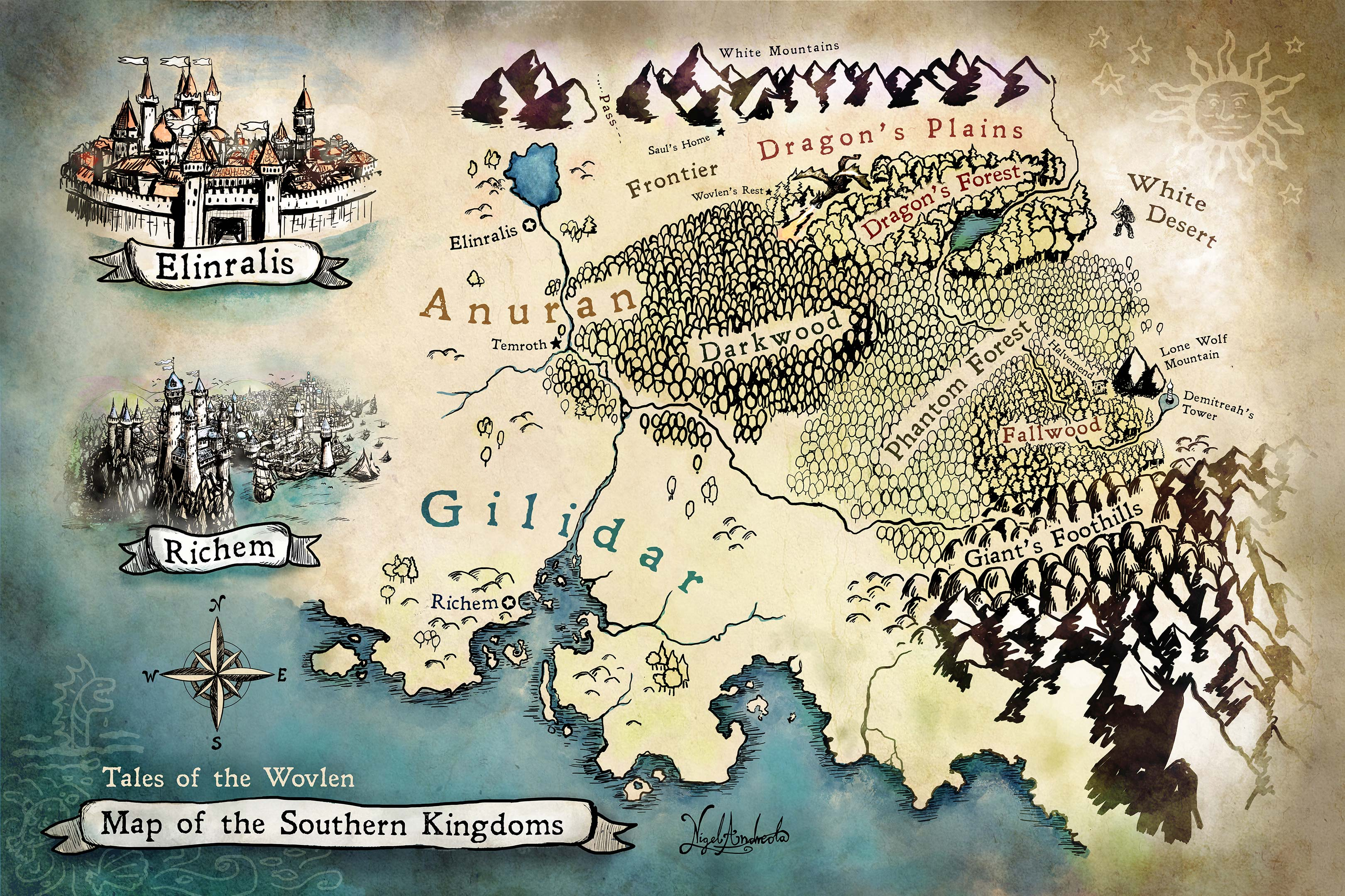 Tales of the Wovlen - Map of the Southern Kingdoms - Kathryn Fogleman - Drawn By Nigel Andreola