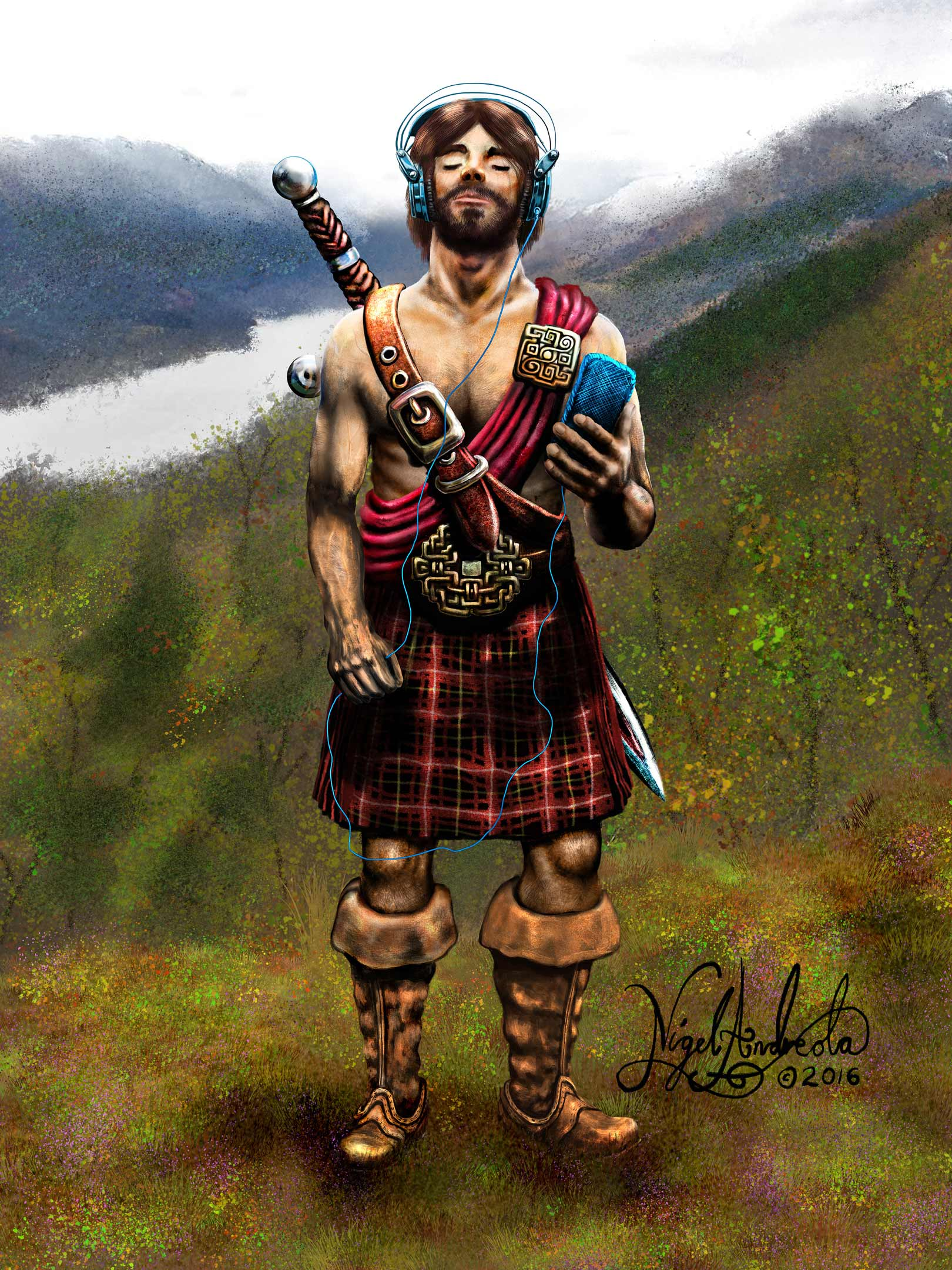 Celtic Warrior With An iPod  By Nigel Andreola
