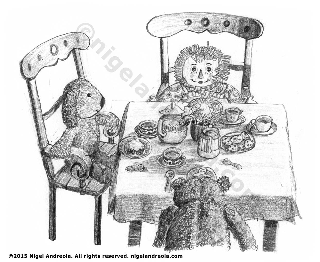 dolls at tea